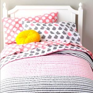 Land of nod - Grey and Pink Bunny Bedding